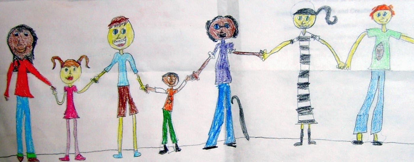 Systemische Ausbildung Strichzeichnung Familie